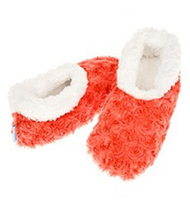 LAST FEW - MED 5/6 Super Soft Rose Textured Snoozies Slippers  APRICOT